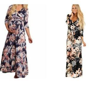 Pinkblush Floral Print Maternity Wrap Maxi Dress